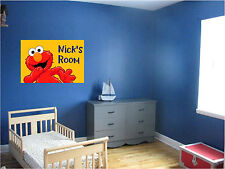 Elmo & Personalized Name Repositionable Color Wall Sticker Wall Mural 24x16