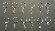 12 - Split Metal Key Rings With Chain, Loop and Screw! Multiple Purpose Uses!