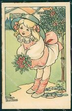 Little Girl and Flowers Anne Anderson Dondorf serie 468 postcard QT6251