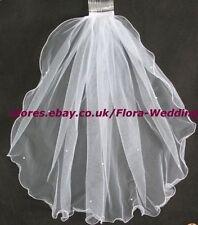 """1 nivel Blanco Santo communion/bridal Boda Gallina Noche Velo & Perlas 23 """"L"""