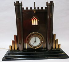 BEAUTIFUL ART DECO SMITH SECTRIC SMITHS ART DECO CASTLE TURRET METAL CLOCK
