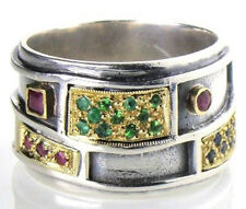 Greek Hand Crafted Ring Sterling Silver 18K Gold Ruby Emerald Sapphire Size 7-8