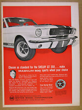 1966 Shelby GT 350 Mustang car photo Magnum 500 Sports Wheel vintage print Ad