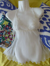 MYLA ivory white SILK bridal babydoll with lace Size L