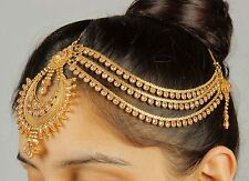 MP- 40 Indian Hair & ForeHead Matha Patti Gold Plated Headpiece Chain Jewelry
