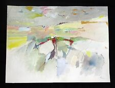 "60s Maine Abstract WC Painting ""Spring Landscape"" by Reuben Tam (1916-1991)(Ols)"