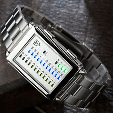 DETOMASO Spacy Timeline Mens Wrist Watch Stainless Steel LED Binary Display New
