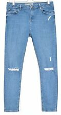 Topshop Skinny JAMIE High Waisted RIPPED Blue Stretch Jeans Size 10 W28 L32