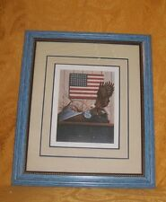 "Gorgeous Blue Framed Eagle & American Flag Picture Frame is 17.25"" x 14.5"""