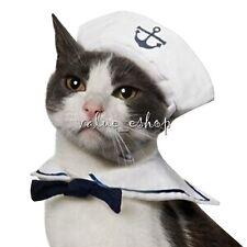 Pet Cat Dog Puppy Kitten Clothes Costume Sailor Suit Outfit Hat &Cape Photo Prop