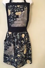 AMISH Handmade Womans Floral Blues Silver Foil Log Cabin Apron w/ Pocket