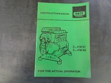 Hatz Diesel 2...4M31  2...4M40 Instruction Book