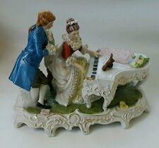 Vtg Dresden Lace Porcelain Victorian Lady Playing Piano Man Large Figurine