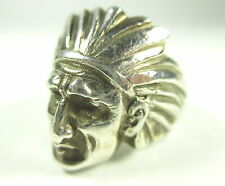 Bague argent tête d'indien 32,70g Navajo sioux Indian silver ring 5.n4