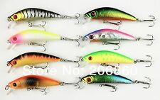 A0278 JUEGO DE 8 PZS ARTIFICIAL SPINNING MINNOW 7 CM 8 GR 3D EYES BLACK BASS