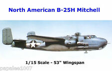 "Model Airplane Plans (UC): B-25 H MITCHELL Bomber 1/15 Scale 53"" for .25-.45s"