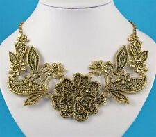 Chunky Antique Gold Floral Plates Statement Necklace