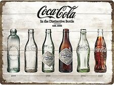 Coca Cola Bottle Evolution large embossed metal wall sign 400mm x 300mm (na)