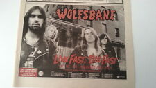 WOLFSBANE Live Fast, Die Fast Tour 1989 UK Press ADVERT 12x8 inches