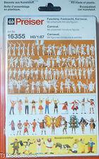 Preiser HO #16355 Carnival Figures -- Unpainted pkg(68) Plastic