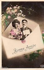 BK755 Carte postale Photo vintage card RPPC couple fantaisie montage enveloppe