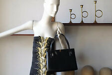 Tasche Handtasche Damen schwarz black real leather 60er True VINTAGE Handarbeit