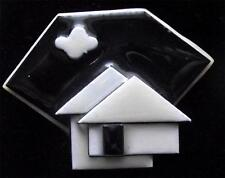 Boxed Modernist Art Deco Vintage Plastic Studio Brooch Pin by Lucinda Yates LY4