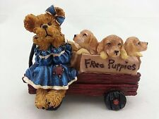 Boyds Bear Shelly T Poochinpup with Jake Jack and Johnny Free Puppies in wagon R