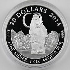 2014 $20 Woolly Mammoth, 1st in Prehistoric Animals, 1 oz Pure Silver Proof Coin
