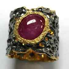 Ruby Cabochon Jewelry in 925 Sterling Silver- $229 appraisal- Size 7