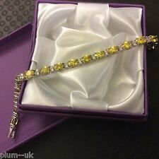 "GB061 sim diamond & citrine 7"" white gold filled tennis bracelet Plum UK BOXED"