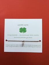 Good Luck Bracelet with 4 Leaf Clover Charm - choice of colour waxed cord