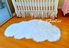 3' x 5' Snow White Cloud Shape Shaggy Faux Fur Rug Nursery Area Rug PlushFurEver