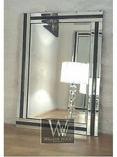 "Eva Black Glass Framed Rectangle Bevelled Wall Mirror 36"" x 24"" Large"
