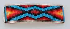 Native American Handmade Beaded Sterling Silver Hair Barrette