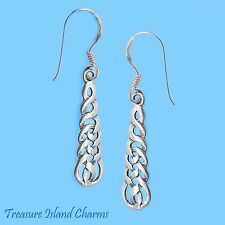 CELTIC ENDLESS KNOT WEAVE .925 Sterling Silver French Wire Hook Dangle EARRINGS