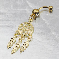 Fashion Gold Dream Catcher Dangle Belly Navel Ring Button Body Piercing Jewelry