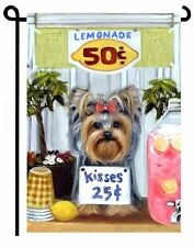 YORKIE painting GARDEN FLAG Dog Art Yorkshire Terrier puppy  Lemonade Stand