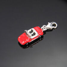 LOVELY 3D LITTLE RED & SILVER SPORTS CAR CLIP ON CHARM - SILVER PLATE NEW