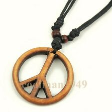Imitate bone brown peace symbol pendant necklace RH241