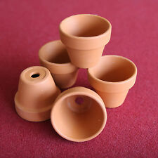 MINIATURE CLAY FLOWER POTS -6 FOR DOLL HOUSE, FAIRY GARDEN, CRAFT