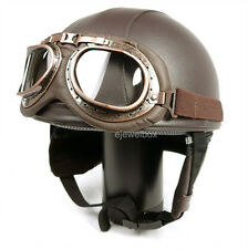 Vintage Motorcycle Motorbike Scooter Half Leather Helmet Brown + Free Goggles
