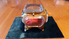 Unique Gift Antique French Bevelled Glass Jewelery/Keepsake Box Red Silk Lining