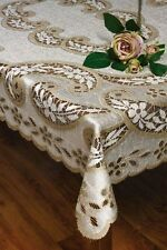 "Rectangular lace LINEN/BEIGE Tablecloth NEW 180cm x 130cm (71""x51"") perfect gift"