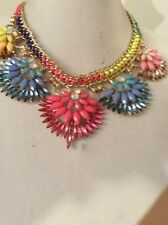 M. Haskell Colorful Statement NECKLACE  5 Brilliant Flowers Goldtone Setting $68