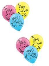 """(12ct) Peppa Pig Birthday Characters 12"""" Latex Balloons Party Supplies"""