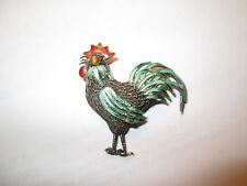 Vintage Gold Gilt Filigree Sterling Silver Enamel Rooster Pin Brooch Tiger's Eye