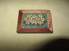 ANTIQUE ITALIAN MICRO MOSAIC INLAY ON PRECIOUS STONE PAPER WEIGHT