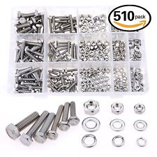 Glarks 510 Pieces Flat Hex Stainless Steel Screws Bolts nuts Lock and Flat Ga...