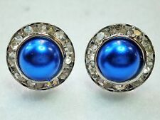 Blue Faux Pearl & Clear Crystal Silver Tone Stud Earrings - 1.5cm (15mm) On Post